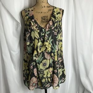 CAbi Ruffle Front Floral Tank